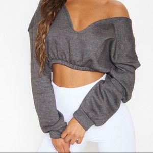 Pretty little thing Crop Off Shoulder Sweater